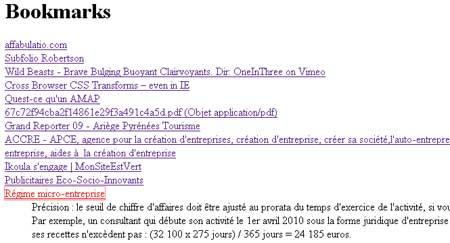 Page HTML du résultat d'export sur delicious.com