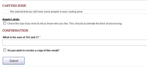 Le formulaire de contact détecte le contenu de la casting zone